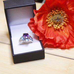 💦 Blue Opal Purple Amethis CZ 925 Siver Ring 💦